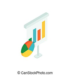Chart and diagram icon, isometric 3d style