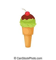 Pistachio ice cream with cherry icon