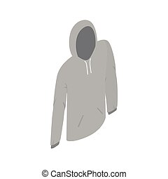 Grey hooded sweatshirt icon, isometric 3d style