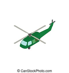 Military helicopter icon, isometric 3d style - Military...