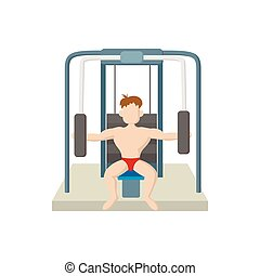 Naked man training muscles on gym machine icon in cartoon...