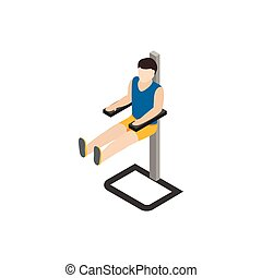 Man doing workout in gym icon, isometric 3d style - Man...
