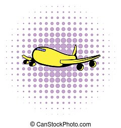 Passenger airliner icon, comics style