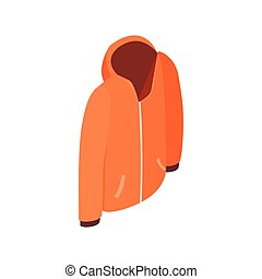 Orange hooded sweatshirt with zipper icon