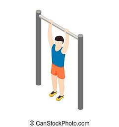Man doing pull-up icon, isometric 3d style - Man doing...