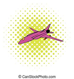 Fighter aircraft icon, comics style