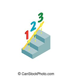 Steps to success icon, isometric 3d style