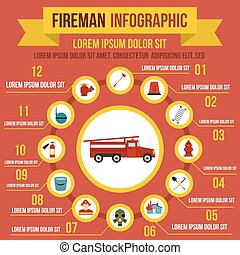 Firefighting infographic elements, flat style - Firefighting...