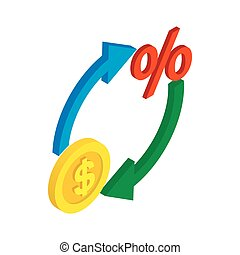 Circle arrows with dollar and percent symbol icon