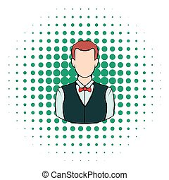 Croupier icon, comics style - Croupier icon in comics style...