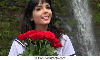 Cosplay Girl With Red Flowers