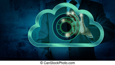 Manager Touching Virtual Dial Lock In The Cloud - Torso of a...