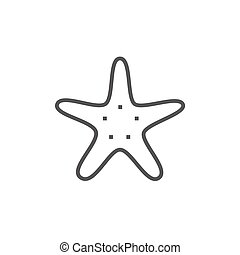 Starfish line icon. - Starfish thick line icon with pointed...