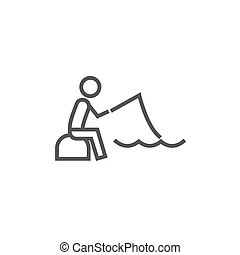 Fisherman sitting with rod line icon.
