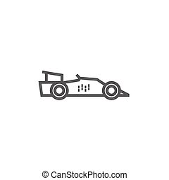 Race car line icon. - Race car thick line icon with pointed...