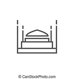 Taj Mahal line icon - Taj Mahal thick line icon with pointed...
