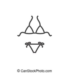 Swimsuit for women line icon. - Swimsuit for women thick...