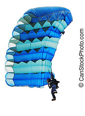 The girl under a parachute - The girl in dark blue overalls...