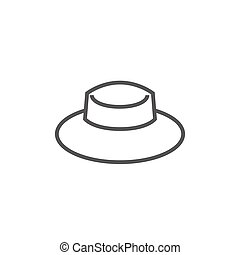 Summer hat line icon - Summer hat thick line icon with...
