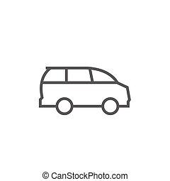 Minivan line icon. - Minivan thick line icon with pointed...