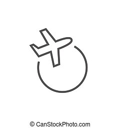 Travel by plane line icon. - Travel by plane thick line icon...