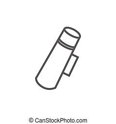 Thermos line icon - Thermos thick line icon with pointed...