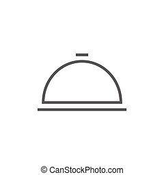 Restaurant cloche line icon - Restaurant cloche thick line...