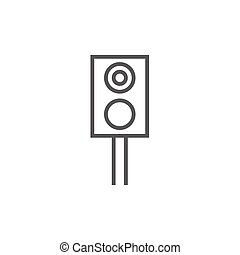 Railway traffic light line icon - Railway traffic light...