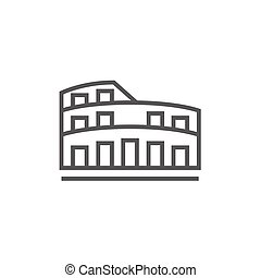 Coliseum line icon. - Coliseum thick line icon with pointed...