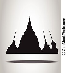 Thai Temple Silhouettes on the white background