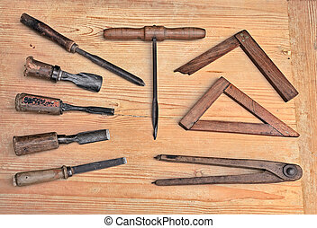 old woodworking tools - vintage woodworking hand tools of an...