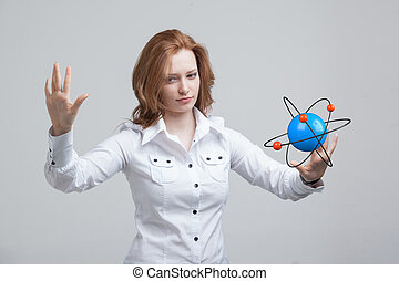 Woman scientist with atom model, research concept - Woman...