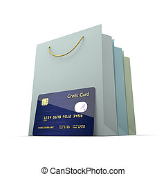 credit card with shopping bag isolated over white - credit...
