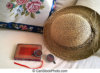 Vintage objects,straw hut, diary,glasses,stitches handwork -...