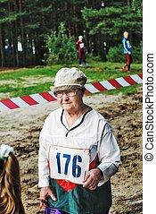 The elderly sportswoman