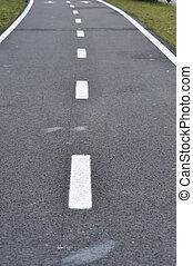 Bicycle road sign, bike lane