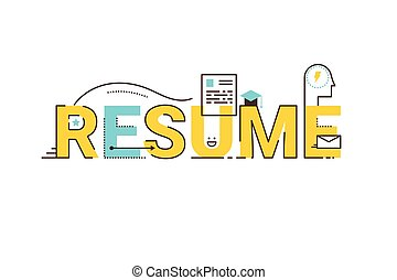 Resume word lettering design - Resume word lettering...
