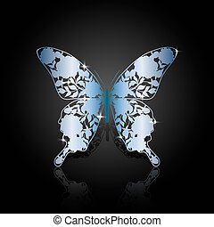 Blue steel abstract butterfly on black background