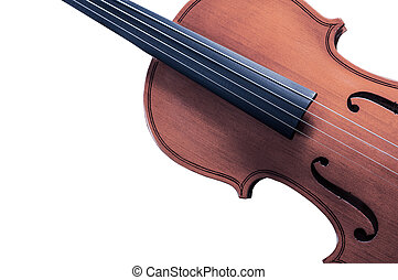 Part of the yellow violin on white background with space for...