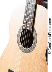 fragment of acoustic guitar. on white background