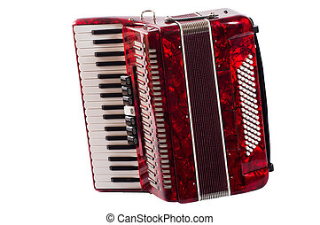 part red musical instrument accordion, white background.