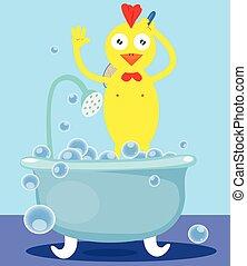 Chicken taking a shower