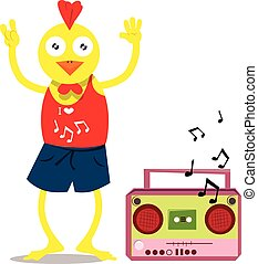 Chicken with cassette player - Vector illustrated cute...