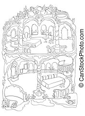 Colouring Page Of Mermaid House - Vector colouring...