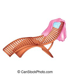 Wooden Chaise Lounge - Vector illustration of wooden chaise...