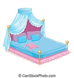 Princess Bed With Canopy - Vector illustration of beautiful...