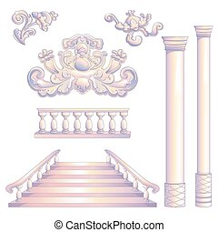 Set Of Column And Stairway - Vector illustration of ancient...