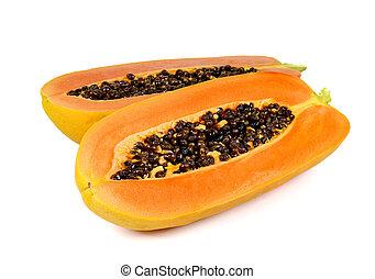 Papaya cut half on white background - Two Papaya cut half...