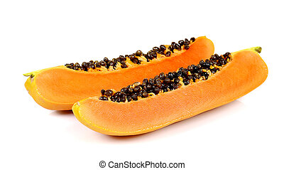 Papaya cut pieces on white background - Two Papaya cut...