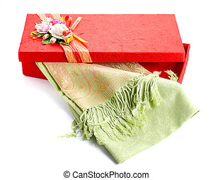 Red gift box,Green silk on white background